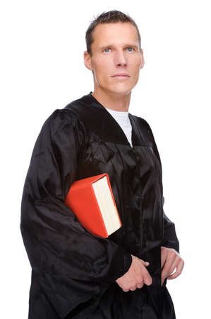 Full isolated studio picture from a young judge (lawyer) with statute book Stock Photo - 8278323