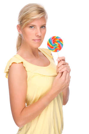 Full isolated portrait of a beautiful woman with sweets Stock Photo - 8442404