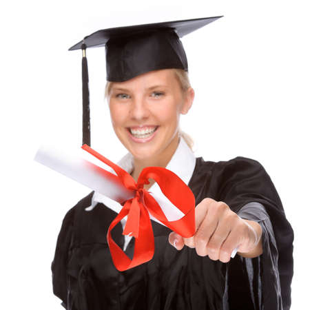 enthusiasm: Full isolated studio picture from a young graduation woman Stock Photo
