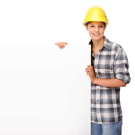 woman hard working: Full isolated portrait of a young craftswoman Stock Photo