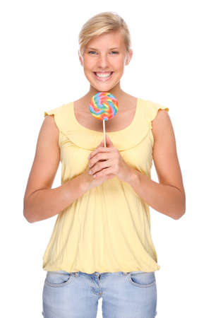 Full isolated portrait of a beautiful woman with sweets Stock Photo - 8564232