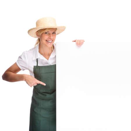 woman gardening: Full isolated portrait of a beautiful caucasian gardener