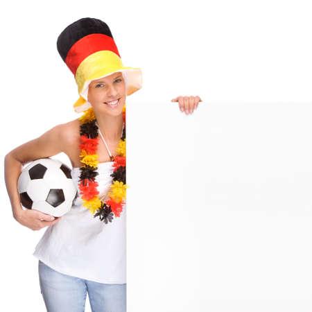 soccer wm: Completo retrato aislado de un fan�tico de f�tbol alem�n hermoso