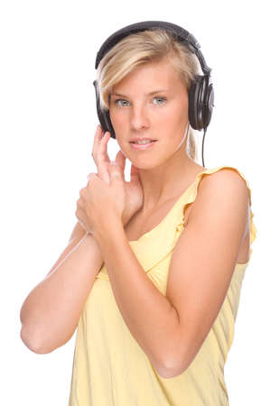 Full isolated portrait of a beautiful woman listen to the music photo