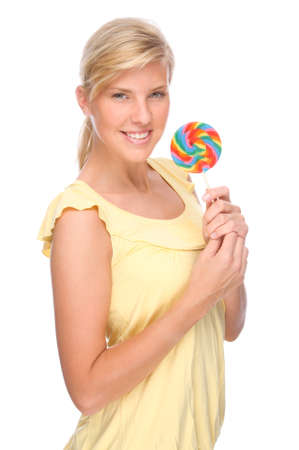 Full isolated portrait of a beautiful woman with sweets Stock Photo - 8611807