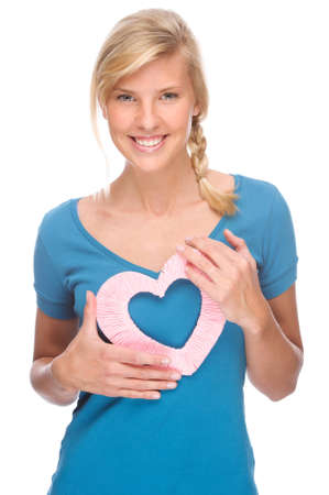 Full isolated portrait of a beautiful woman with heart Stock Photo - 8611822