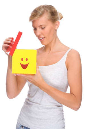 Full isolated portrait of a beautiful woman with box Stock Photo - 8611795