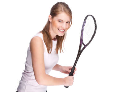 Full isolated studio picture from a young woman with squash racket photo