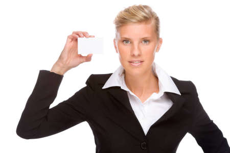 Full isolated portrait of a caucasian businesswoman photo