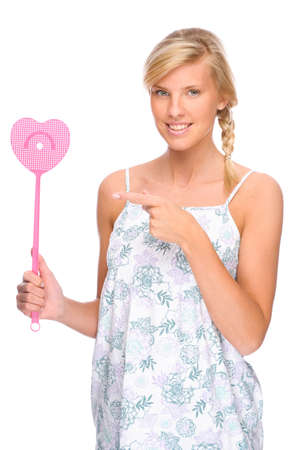 Full isolated portrait of a caucasian woman with fly swatter Stock Photo - 8752984