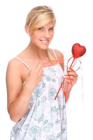 Full isolated portrait of a caucasian woman with red heart photo