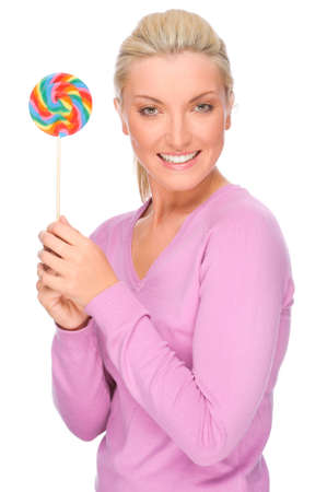 Full isolated portrait of a beautiful woman with sweets Stock Photo - 8753002