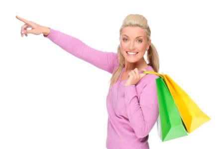 Full isolated portrait of a beautiful  woman with shopping bags Stock Photo - 8752943