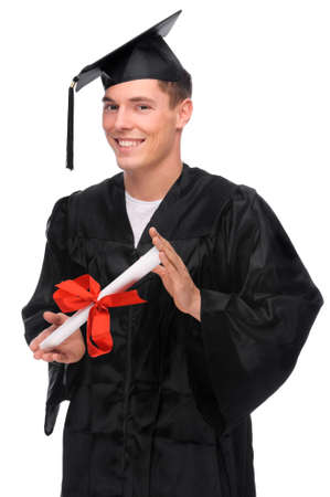 Full isolated studio picture from a young graduation man photo