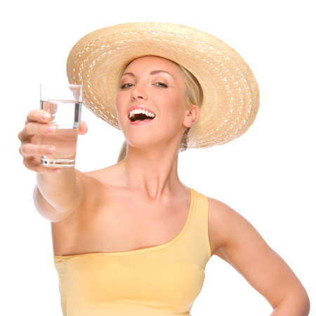 Full isolated portrait of a beautiful woman with glass of water Stock Photo - 8753072