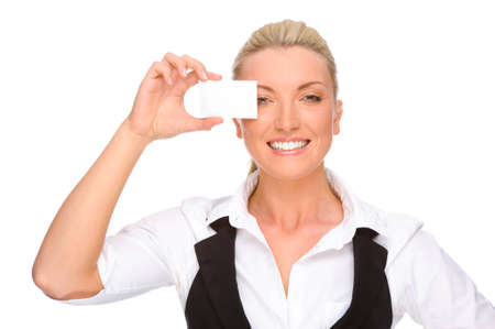 Full isolated portrait of a caucasian businesswoman with blank business card photo
