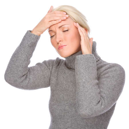 sensitivity: Full isolated portrait of a caucasian woman with headache