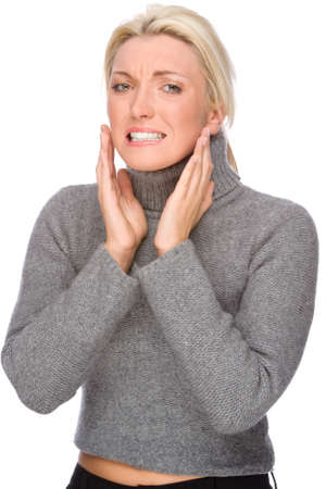 Full isolated portrait of a caucasian woman with toothache photo