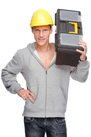 Full isolated studio picture from a young craftsman Stock Photo - 9006786