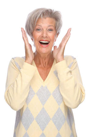 Full isolated portrait of a beautiful and happy senior woman Stock Photo - 9164122