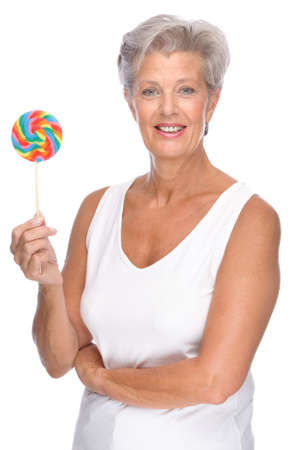 Full isolated portrait of a senior woman with lolly Stock Photo - 9165457
