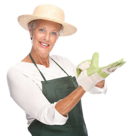 Full isolated portrait of a senior gardener Stock Photo - 9164053