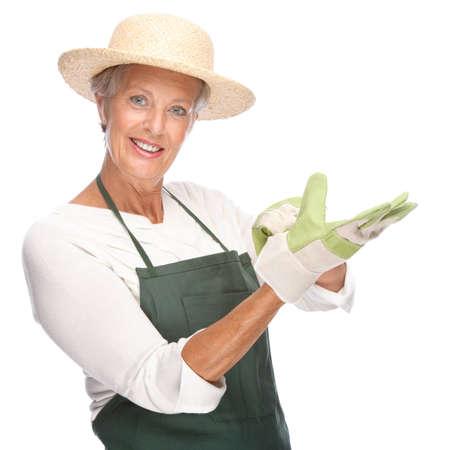 Full isolated portrait of a senior gardener Stock Photo - 9164053