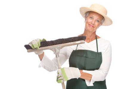 Full isolated portrait of a senior gardener Stock Photo - 9164075