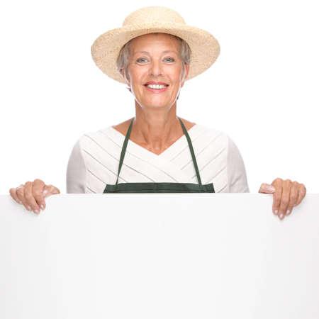 Full isolated portrait of a senior gardener Stock Photo - 9164069