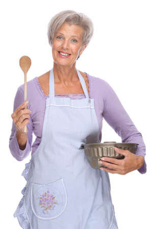 Full isolated portrait of a senior housewife Stock Photo - 9159292