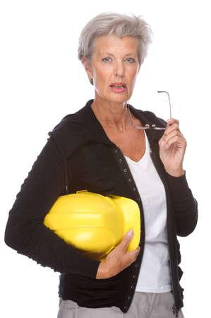 Full isolated portrait of a senior engineer photo