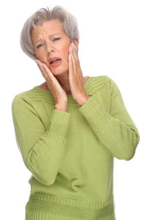 Full isolated portrait of a senior woman with toothache photo