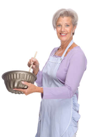 Full isolated portrait of a senior housewife photo