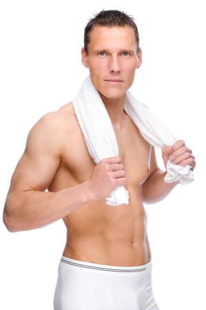 nackter mann: Voll isoliert Studio Bild von einem jungen nackten Mann mit Unterw�sche