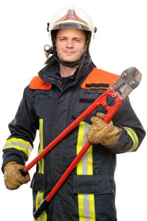 bombero de rojo: Imagen de un bombero j�venes y �xito en el trabajo