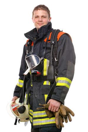 voiture de pompiers: Photo de pompier jeune et r�ussir au travail