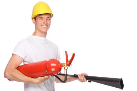 Full isolated studio picture from a young man with extinguisher photo