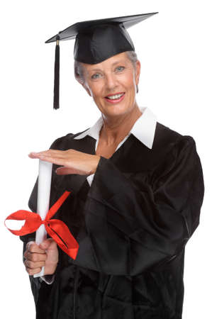 graduating seniors: Full isolated portrait of a active senior graduate Stock Photo