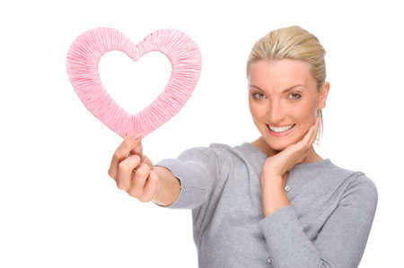 love sexy: Full isolated portrait of a beautiful woman with heart Stock Photo