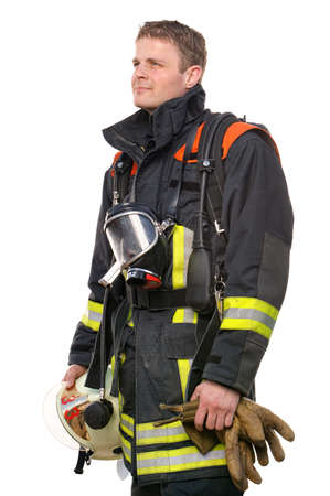 firefighting: Picture from a young and successful firefighter at work Stock Photo