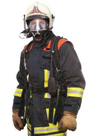tűzoltó: Kép egy fiatal és sikeres tűzoltó munkahelyi Stock fotó