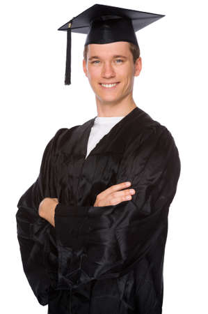 succeeding: Full isolated studio picture from a young graduation man
