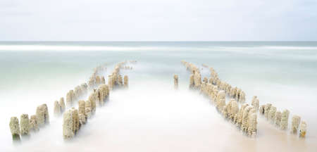 shore line: Old groin in Rantum on the island sylt Stock Photo