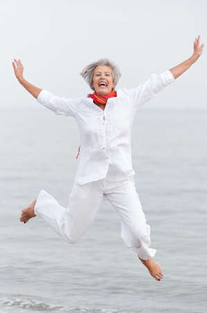 active holiday: Active and happy senior woman