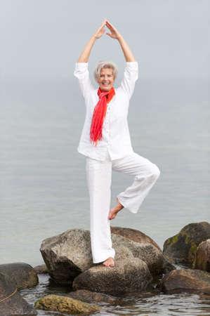 Active and happy senior woman photo