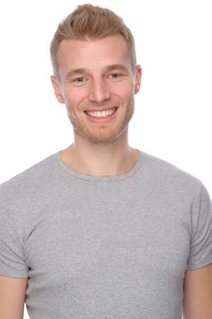 Full isolated portrait of a  smiling young man Stock Photo - 11990896