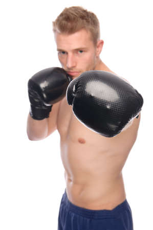 boxing boy: Full isolated studio picture from a young boxer Stock Photo