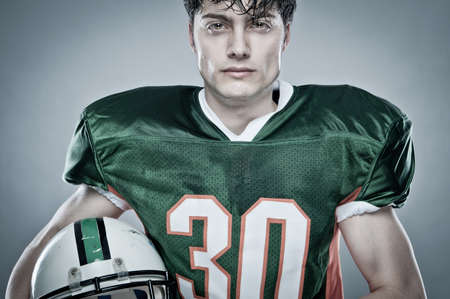 american football player: Young american football player Stock Photo