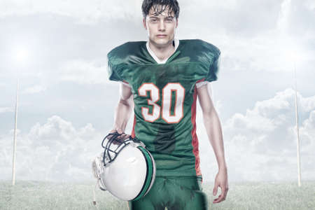 Young american football player photo