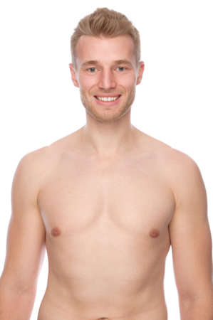 homme nu: Plein d'image studio isolé d'un jeune homme nu